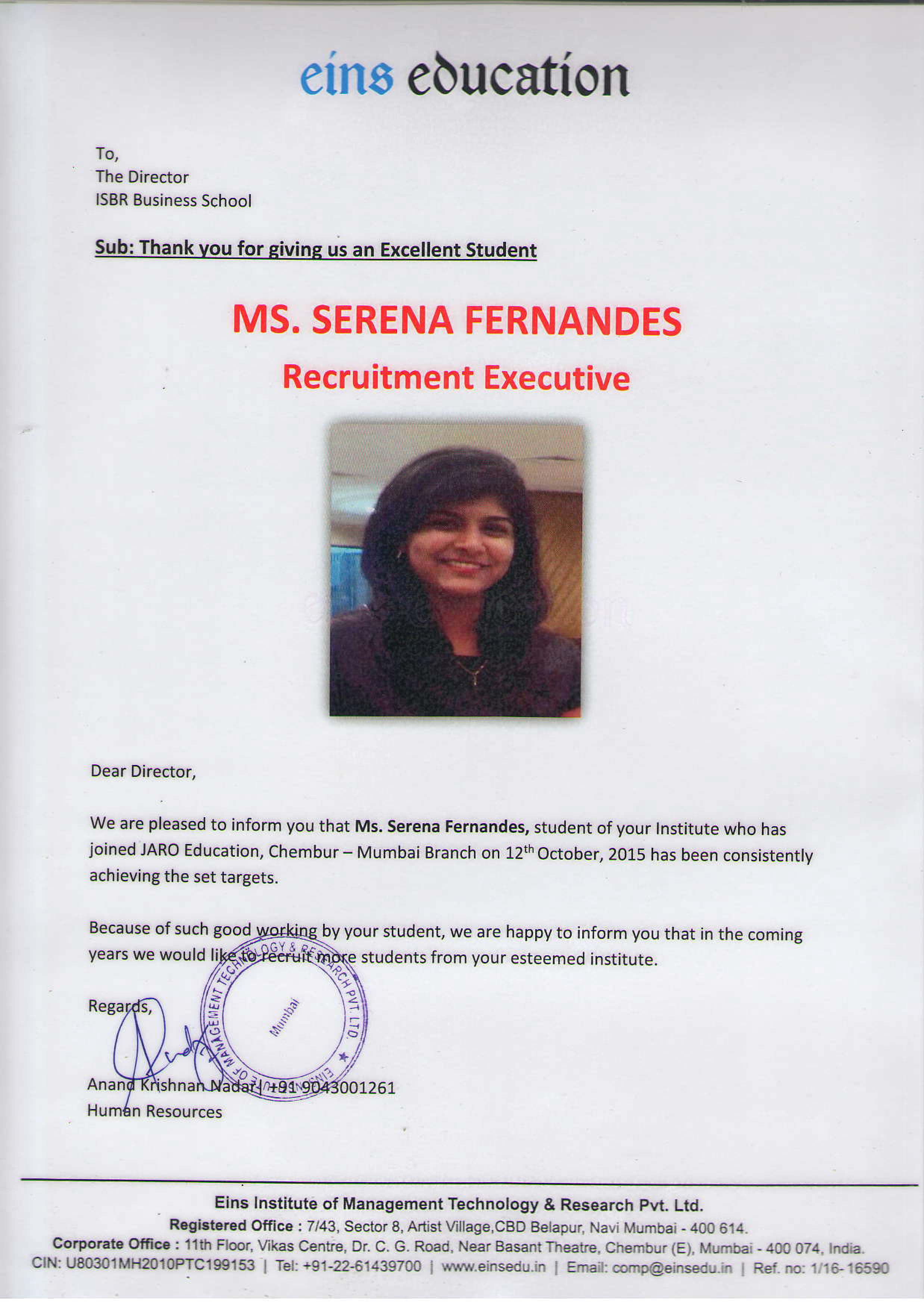 isbr business school official blog real world real learning page 4 her company writes an appreciation letter to us applauding her achievement at work and emphasizes on