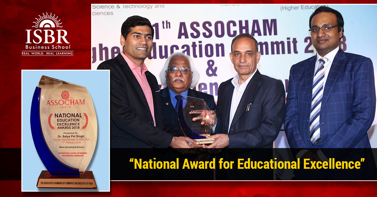 ISBR rankings and awards. ISBR received 'National Award for Education Excellence' from ASSOCHAM